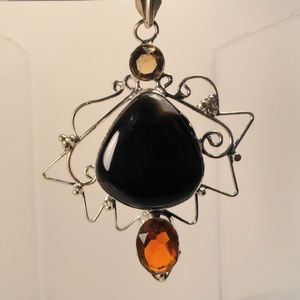 Jewelry - Huge African Agate Smokey Topaz Morganite Pendant